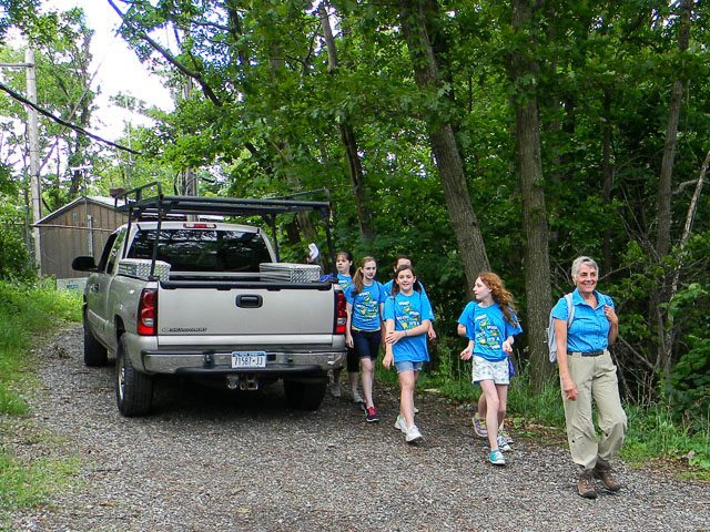 Members of the GFMS Go Green Club arrive at Mount Nimham fire tower with CAC Chair Beth Herr