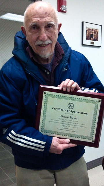 George Baum receives certificate of appreciation