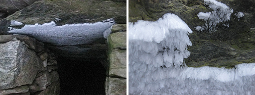 Photos of needle ice formed on the lintel of the Mead Farm stone chamber