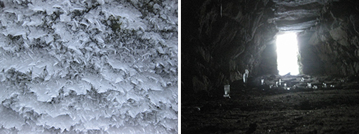 Photos of ice needles on the ceiling and ice stalagmites on the floor of the Mead Farm stone chamber
