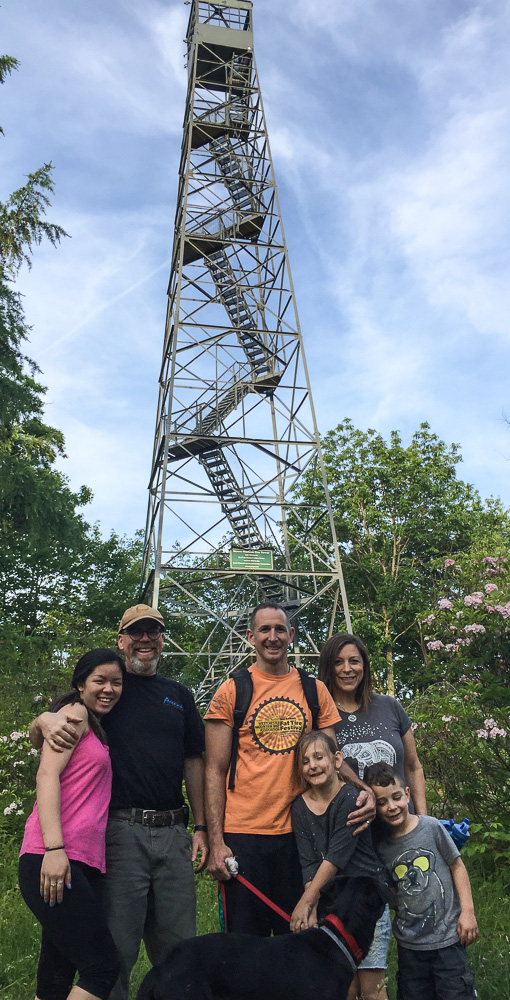 Photo of six of the volunteers who helped with the fire tower clean-up